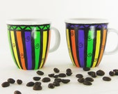 Hand Painted Coffee Cups - Stripes, Swirls in Bright Colors Set of 4 - Espresso Cup Tea Cup Coffee Mugs Hostess Gift Coffee Lover Gift