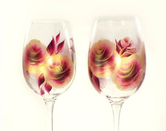CRYSTAL White Wine Glasses, Hand-Painted  - Burgundy Red and Gold Roses Set of 4 - Wine Glasses 50th Anniversary Gift Ideas