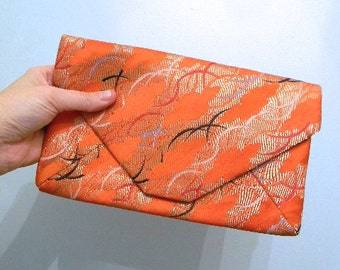 vintage. 60s Handmade Silk Clutch // Red Chinese Bag