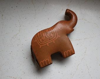 vintage. 50s 60s  Indian Leather Elephant Piggy Bank  // Unique Rare Piece