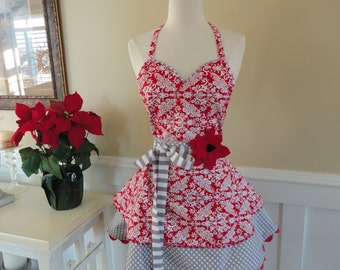 Valentine Red Damask ~ Fun for Year Round  ~Sadie Style Women's Apron ~ 4RetroSisters