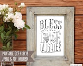Bless This House with Love and Laughter Sign - Bless this Home - Christian Print - Housewarming Gift - Printable Wall Art - DIY Home Decor