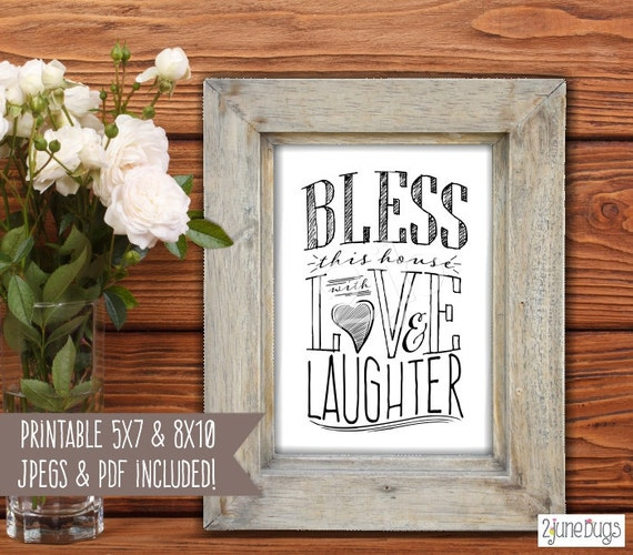 Bless This House with Love and Laughter Sign - Bless this Home ...