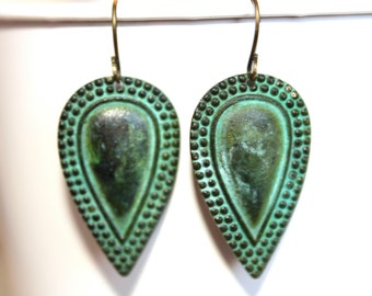 Patina Teardrop Dangle Earrings,Patina Jewelry,Verdigris Patina, Fall Jewelry, Fall Earrings, Gift for Her