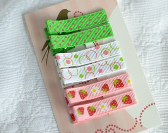 Set of 6 Non Slip Hair Clips - No Slip Barrettes -Strawberries, Bubbles and Polka Dots