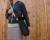 Black Leather Crossbody Bag Upcycled Materials