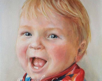 """Oil Painting - Custom Portraits from Your Photos - Child Portrait  10"""" x 10"""" (Head and Shoulders)"""