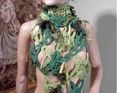 Sale - EXTRAVAGANT ROMANTIC SCARF - Wearable Fiber Art, Freeform Crocheting, Top Quality Italian Yarn