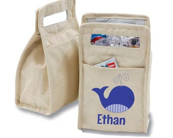 Personalized Blue Whale Insulated Cotton Lunch Bag - Personalized with Any Name and You Choose the Font!