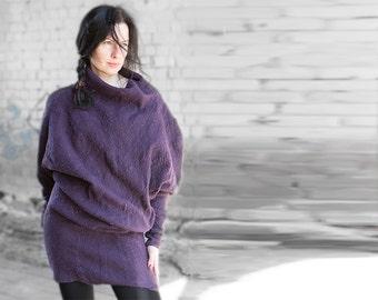 ON SALE Felted dress purple blouse silk and wool kimono sweater wool jacket silk tunic short dress winter sale Christmas gift ready to ship