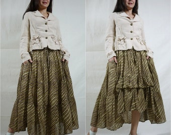 SALE - 2 In 1 Take Me to Your Heart...Steampunk Short Front/ Long back Tiered Brown Diagonal Stripe Light Cotton Skirt With 2 Roomy Pockets