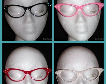 Adorable 50's style Cat Eye Glasses, Your choice of color Black,Pink,Red,White,Light Teal!