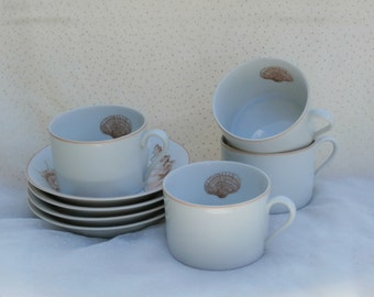 4 Fitz Floyd Coquille Cups and Saucers, Pretty Vintage Seashell Pattern