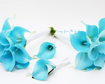 Ready to Ship - Real Touch Blue Calla Lily Bridesmaids Bouquets Groomsmen Boutonnieres Wedding Flower Package