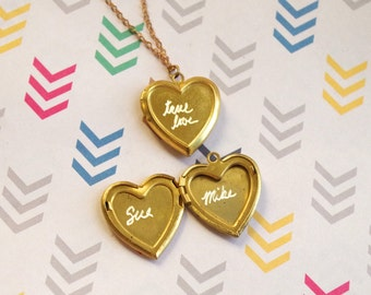 Golden Heart Locket Necklace with Custom Engraved Names or Personalzed Words