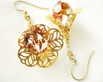 Crystal Drop Gold Filigree Earrings Cone Flower Crystal Copper Presiocia Faceted Drop Romantic Holiday Handmade Jewelry Canada
