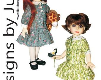 """PDF Perfect Pleats Dress Pattern for 10"""" BJD Dolls Creedy"""