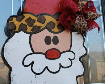 Leopard Print Santa Door Hanger