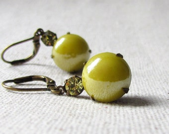 Lemon Yellow Glass Earrings, Vintage Style Drop Earrings, Bridesmaid Gift,  Antique Brass, Dainty Colorful Earrings