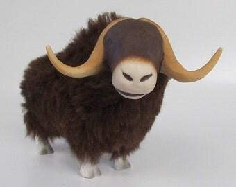 Handmade Musk  Ox Porcelain and Alpaca Figurine