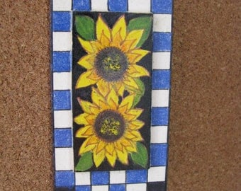 Yellow sunflower pin brooch with blue & white checked border