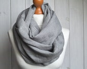 Natural linen Infinity Scarf tube scarf, lightweight fashion scarf, spring fashion, eco style