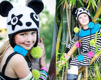 PATTERN Amanda the Rock-n-Roll Panda and Bamboo the Panda Hat Crochet Pattern in PDF