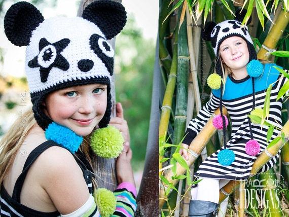 PATTERN Amanda the Rock-n-Roll Panda and Bamboo the Panda Hat Crochet Pattern in PDF