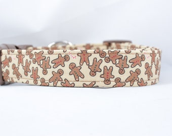Gingerbread Dog Collar, 1 inch wide, available in 3 sizes, brown, tan, holiday, christmas, festive, nylon, adjustable,  small, medium, larg