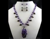 Royal Purple Amethyst, Y Cluster Necklace, Dangle Earrings, Smoky Quartz, 925 Sterling Silver, AAA Gemstone, Fringe, Jewelry, Two Piece Set