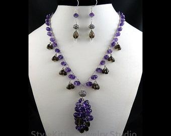 Amethyst Y Cluster Necklace Set, Smoky Quartz, Dangle Earrings, Royal Purple, 925 Sterling Silver, AAA Gemstone, Fringe, Jewelry, Two Piece