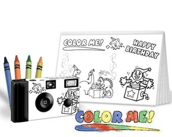 5 sets --Color-My-Cam Dinosaurs Themed Birthday  Disposable Camera & Photo Album w/Crayons-child wedding favor, kid wedding favor (F56302)