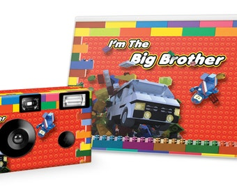 I'm The Big Brother Camera and Photo Album Set-LEGO BLOCKS Design-single use camera w/24 exposures, color film and flash - big brother gift