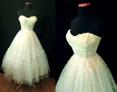 Dreamy 1950's Strapless Chartreuse Tulle Party Cocktail Dress Wedding Gown Prom Shelf Bust   Rockabilly VLV Wedding Prom Pinup Size-Small