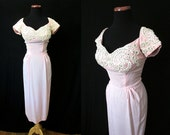 """CLEARANCE Stunning  1950's Designer Dusty Pink Cocktail Party Dress w/ Pearls and Rhinestones by """"Gloria's"""" Rockabilly Wedding Size-Medium"""