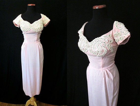 "Stunning  1950's Designer Dusty Pink Linen Cocktail Party Dress w/ Pearls and Rhinestones by ""Gloria's"" Rockabilly Wedding Size-Medium"