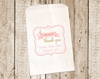 Custom Printed  Baby Shower Candy Buffet Bags/Favor bags/Candy bags/Candy Bar bags  25 count
