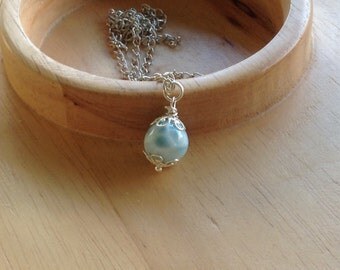 Larimar Pendant round bead 13 mm gifts under 35 *No chain included*