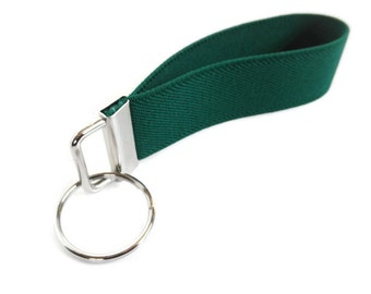 Emerald Green Stretchy Key Fob Pick Your Size Wrist Key Holder Fob Orgainzer.  Bracelet Style Stretch Teal Key Fob Size SMALL