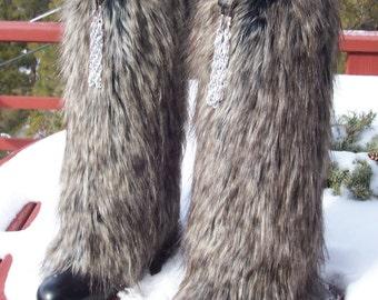 Elegant Fox Faux Fur Leg Muffs with Silver