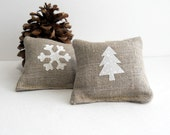 Maine Balsam Fir Sachets in Natural Rustic Linen with Snow White Tree and Snowflake - Maine Balsam Fir Pillows
