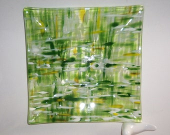 Spring Green Fused GLass Art Square Dish Field of FLowers Impressionist Style