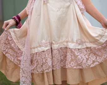 Lagenlook  Mid length Dress. Tea dyed Layering dress. Lace Vintage fabric Prairie dress.