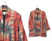 Vintage Kimono Jacket * India Cotton Wrap Coat * ANOKHI Ethnic Blazer * Medium - Large