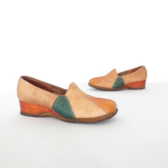 70s wedge shoes leather color block block shoes