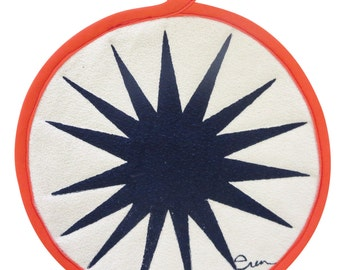 NEW Pot Holders, Navy Burst, with contrasting binding tape, 10 inch diameter