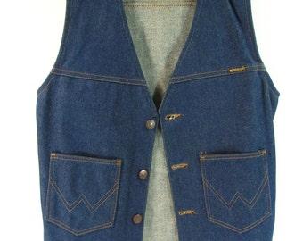 wrangler denim vest mens small blue jean vintage 1970s western cowboy trucker