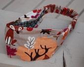 Autumn theme Fox and Trees elastic headband