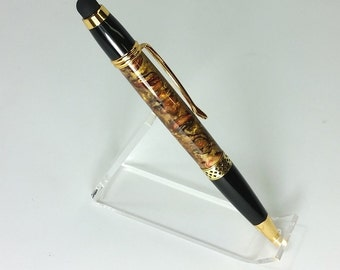 handcrafted acrylic stylus pen stunning gold and black with hints of red   *Free shipping, use code freeship*