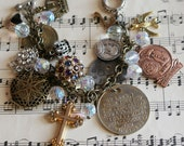 Vintage Charm Bracelet Religious Medals Lockets Crystal Beads